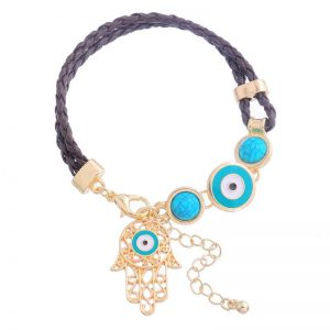 Dahlia Bohemian Hand of Fatima Leather Bracelet - The Clothes Maiden
