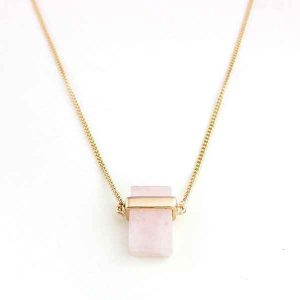 Everleigh Pastel Pink Druzy Crystal Pendant Necklace - The Clothes Maiden